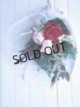 【THANKS!】結婚式のフラワー電報に♪赤いバラとチュールのスワッグ25cm